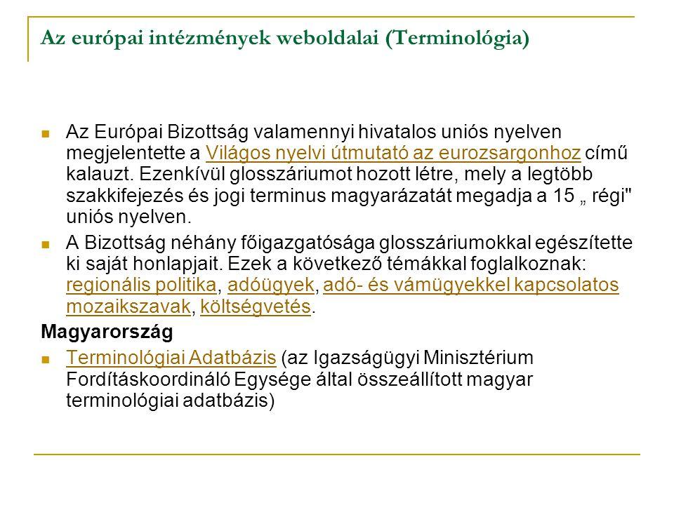 Az európai intézmények weboldalai (Terminológia)