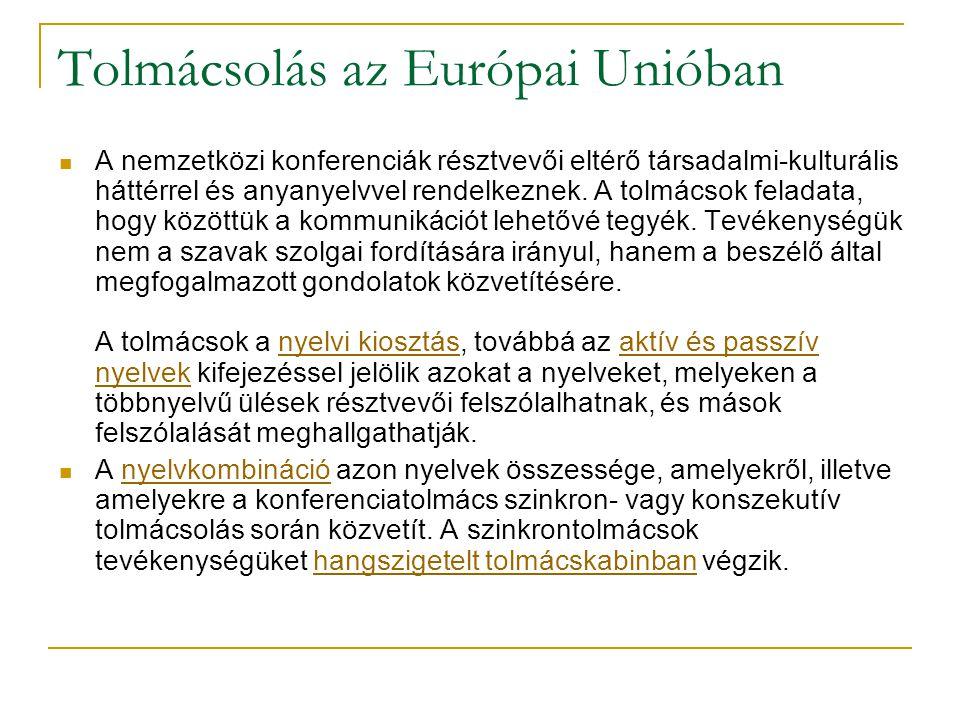 Tolmácsolás az Európai Unióban