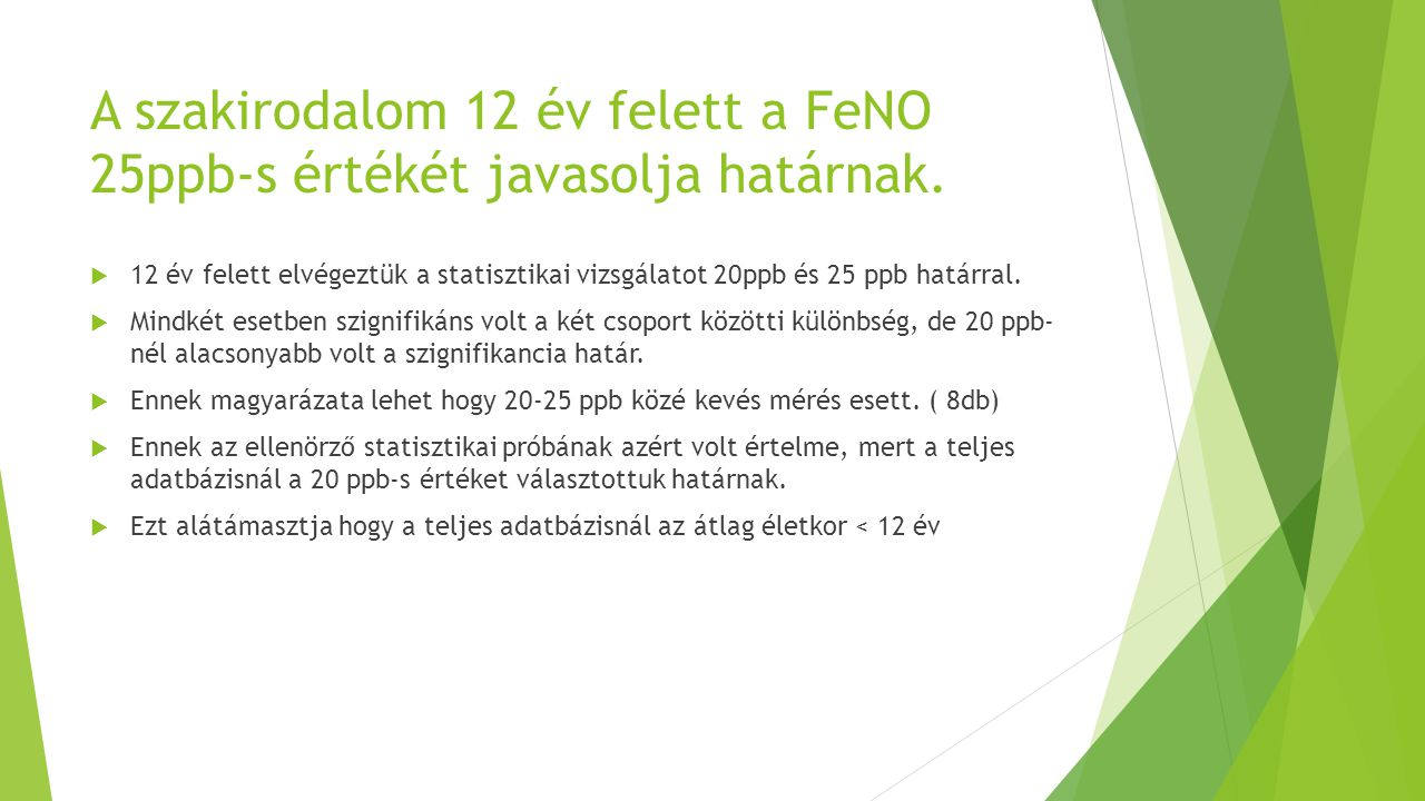A szakirodalom 12 év felett a FeNO 25ppb-s értékét javasolja határnak.