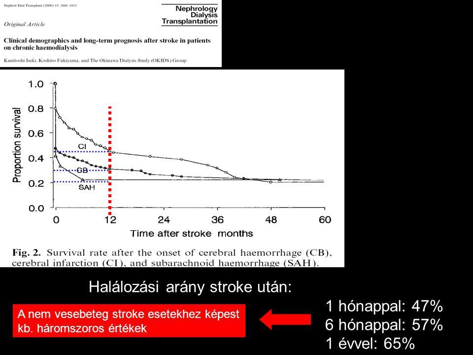 Halálozási arány stroke után: 1 hónappal: 47% 6 hónappal: 57%