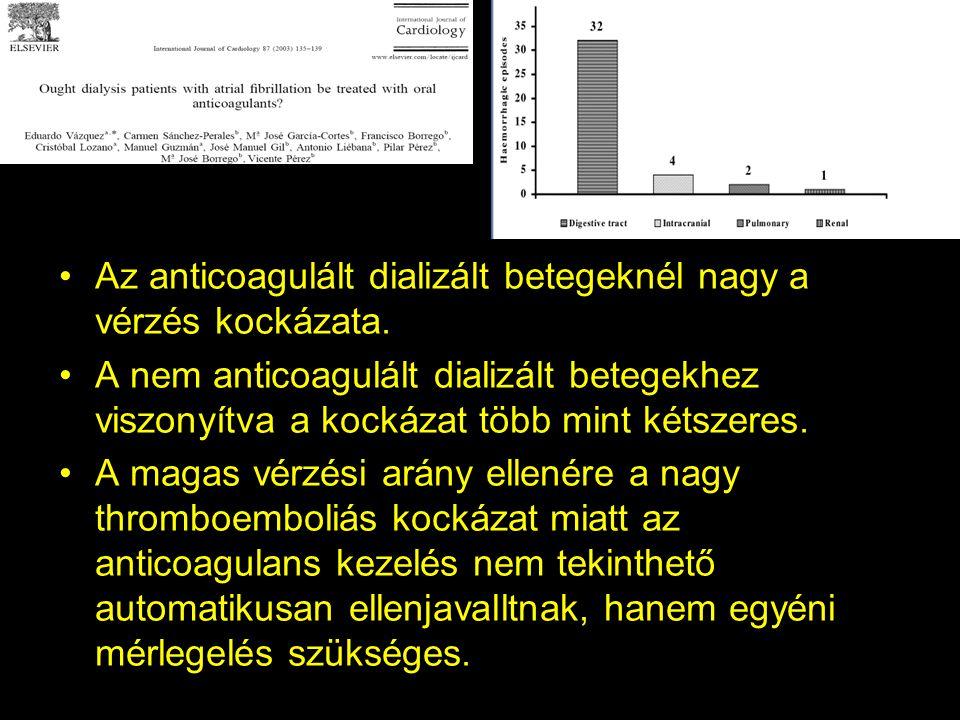 Az anticoagulált dializált betegeknél nagy a vérzés kockázata.