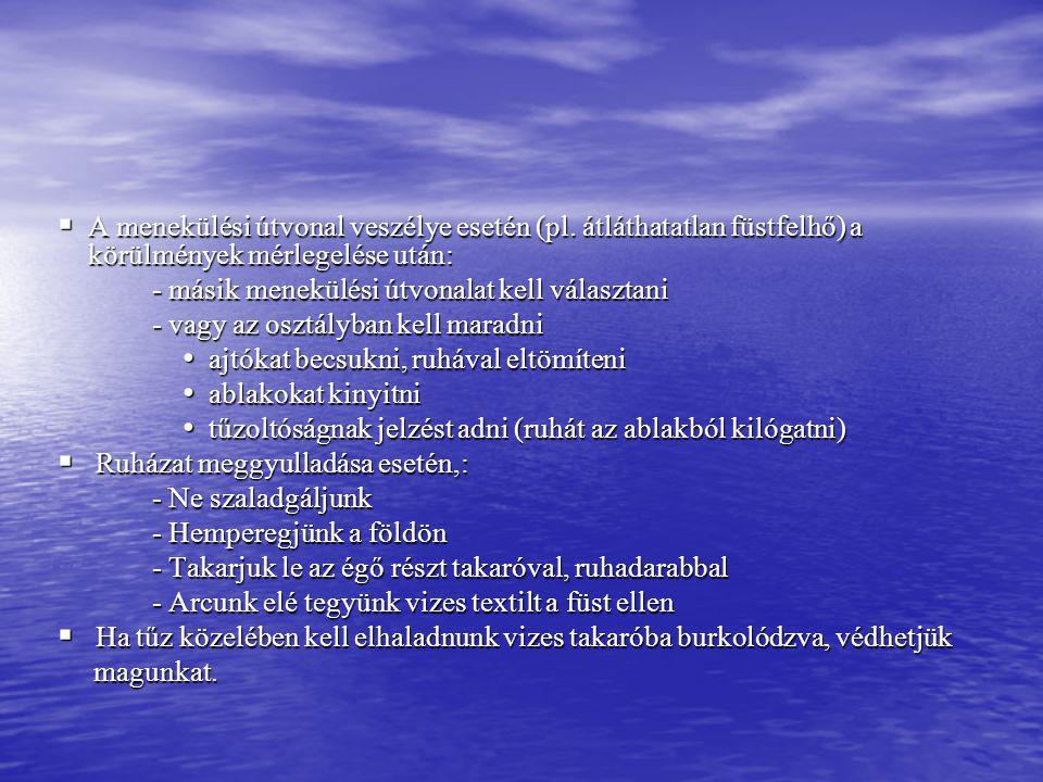 A menekülési útvonal veszélye esetén (pl