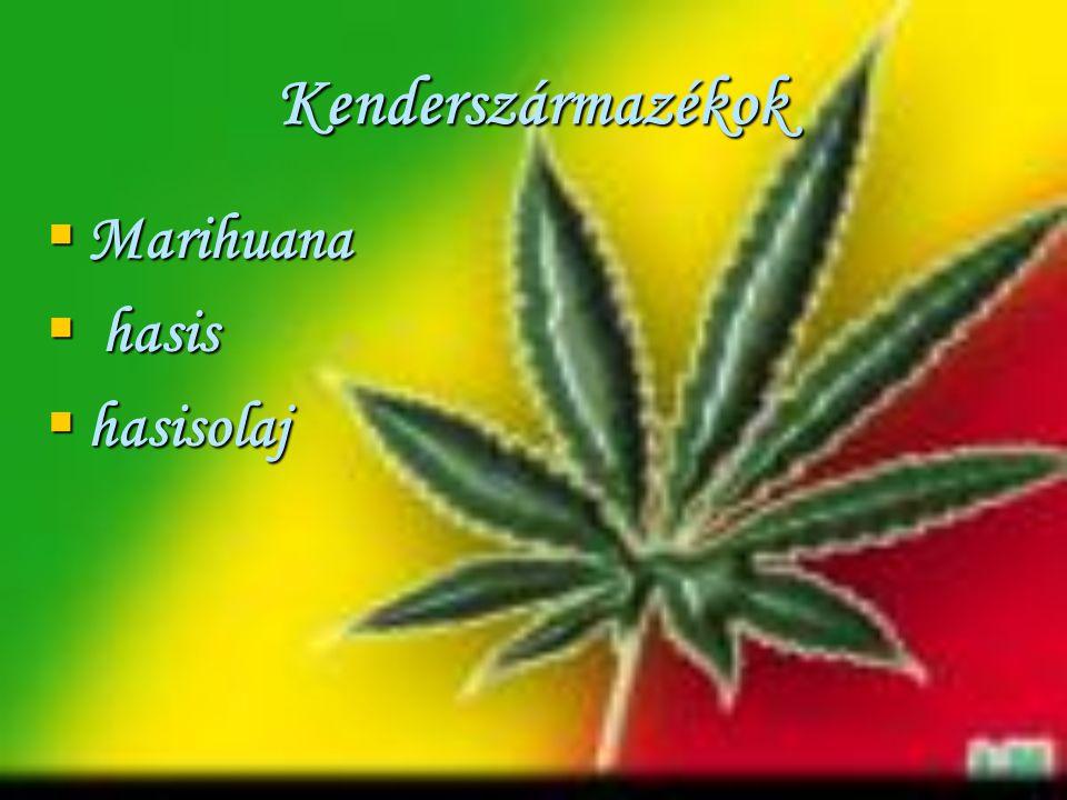 Kenderszármazékok Marihuana hasis hasisolaj