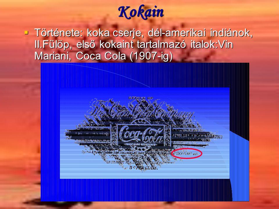 Kokain Története: koka cserje, dél-amerikai indiánok, II.Fülöp, első kokaint tartalmazó italok:Vin Mariani, Coca Cola (1907-ig)