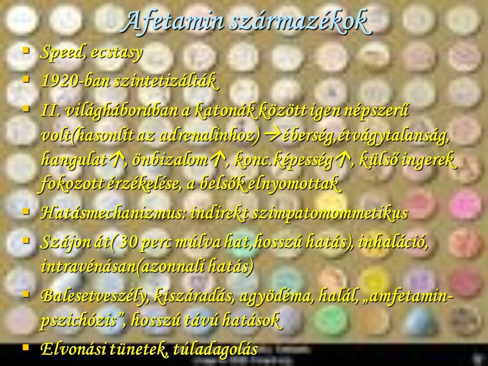 Afetamin származékok Speed, ecstasy 1920-ban szintetizálták