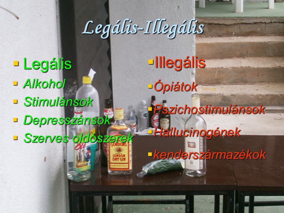 Legális-Illegális Illegális Legális Ópiátok Alkohol Stimulánsok