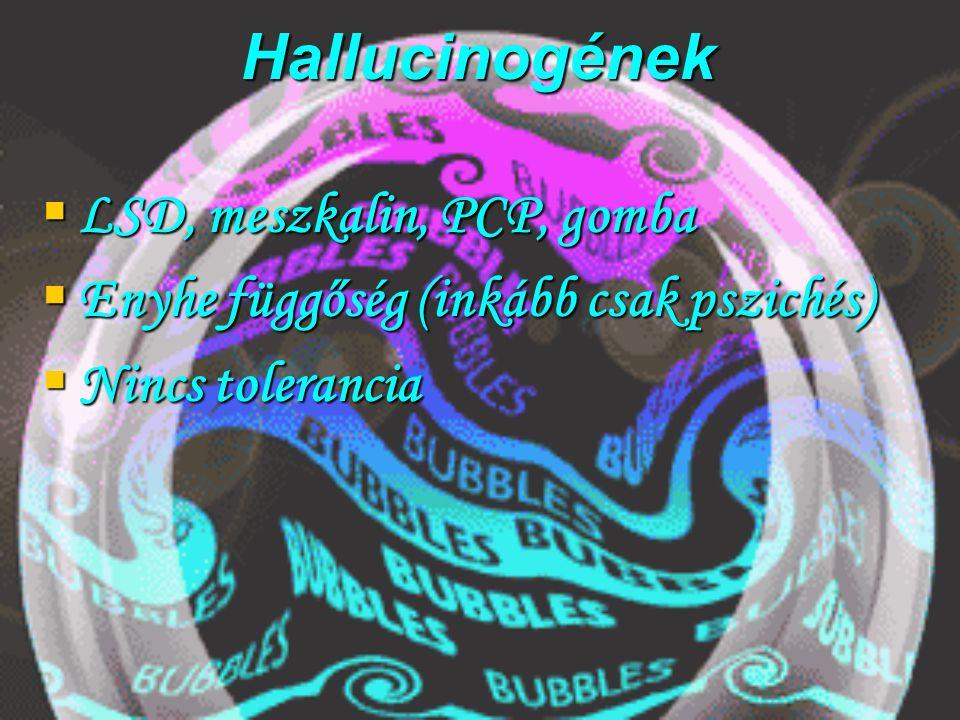 Hallucinogének LSD, meszkalin, PCP, gomba