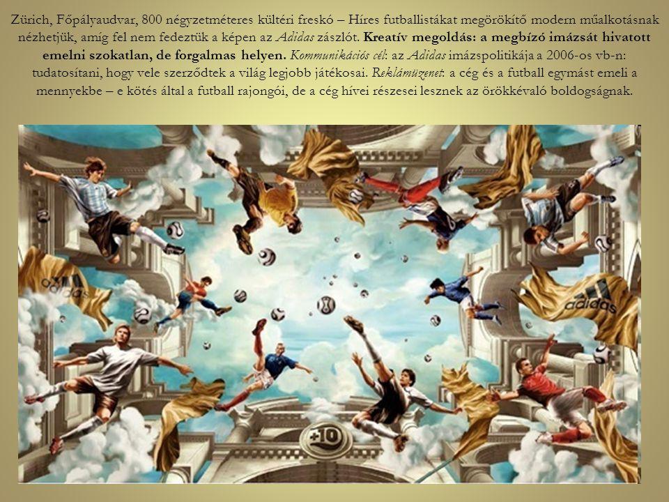 Zürich, Főpályaudvar, 800 négyzetméteres kültéri freskó – Híres futballistákat megörökítő modern műalkotásnak nézhetjük, amíg fel nem fedeztük a képen az Adidas zászlót.