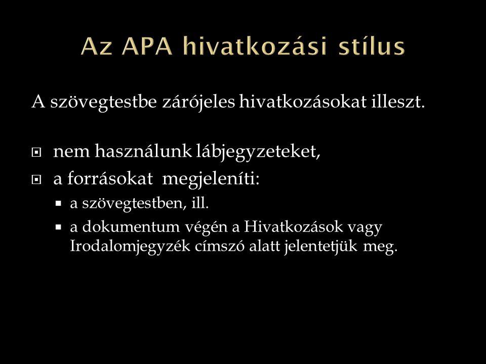 Az APA hivatkozási stílus