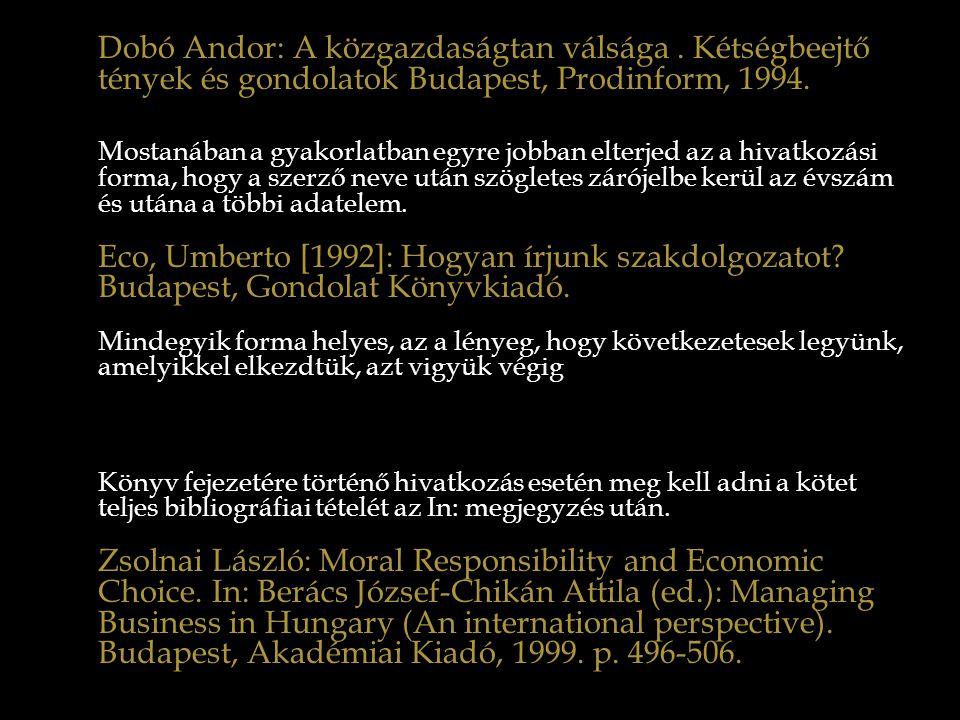 Dobó Andor: A közgazdaságtan válsága