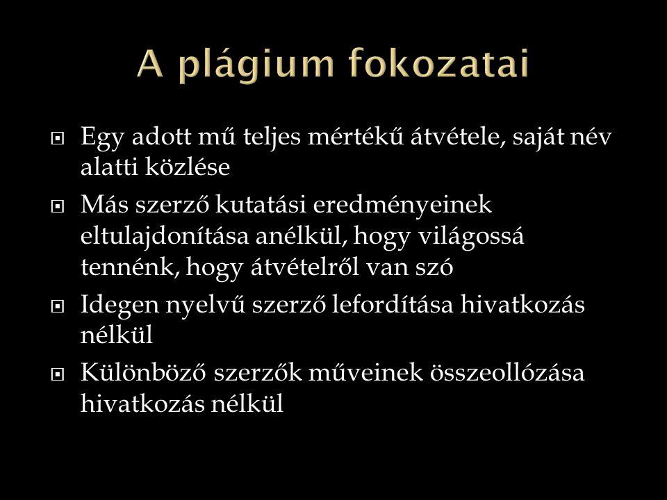 A plágium fokozatai Egy adott mű teljes mértékű átvétele, saját név alatti közlése.