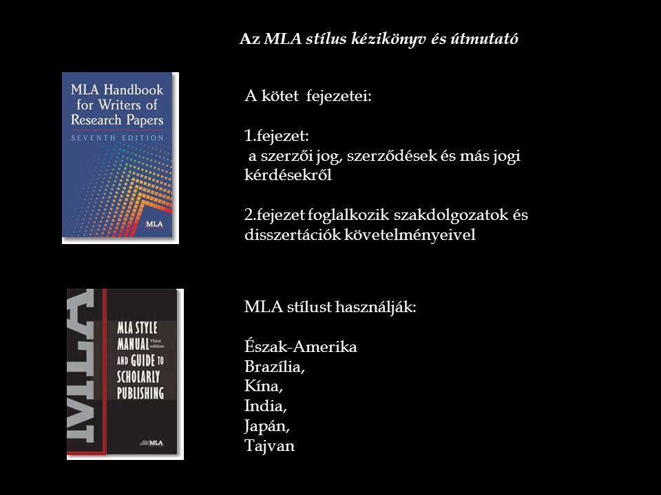 Az MLA stílus kézikönyv és útmutató
