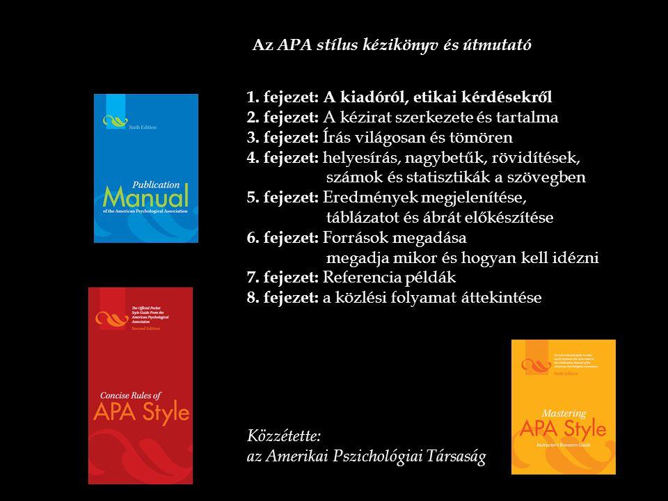 Az APA stílus kézikönyv és útmutató