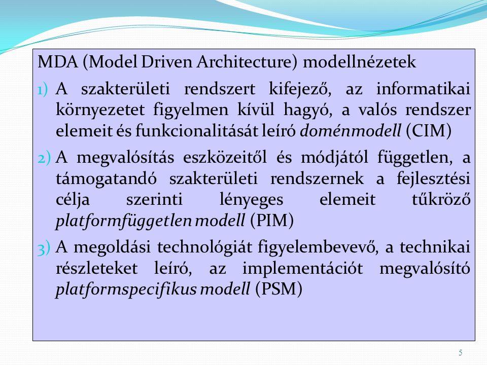 MDA (Model Driven Architecture) modellnézetek