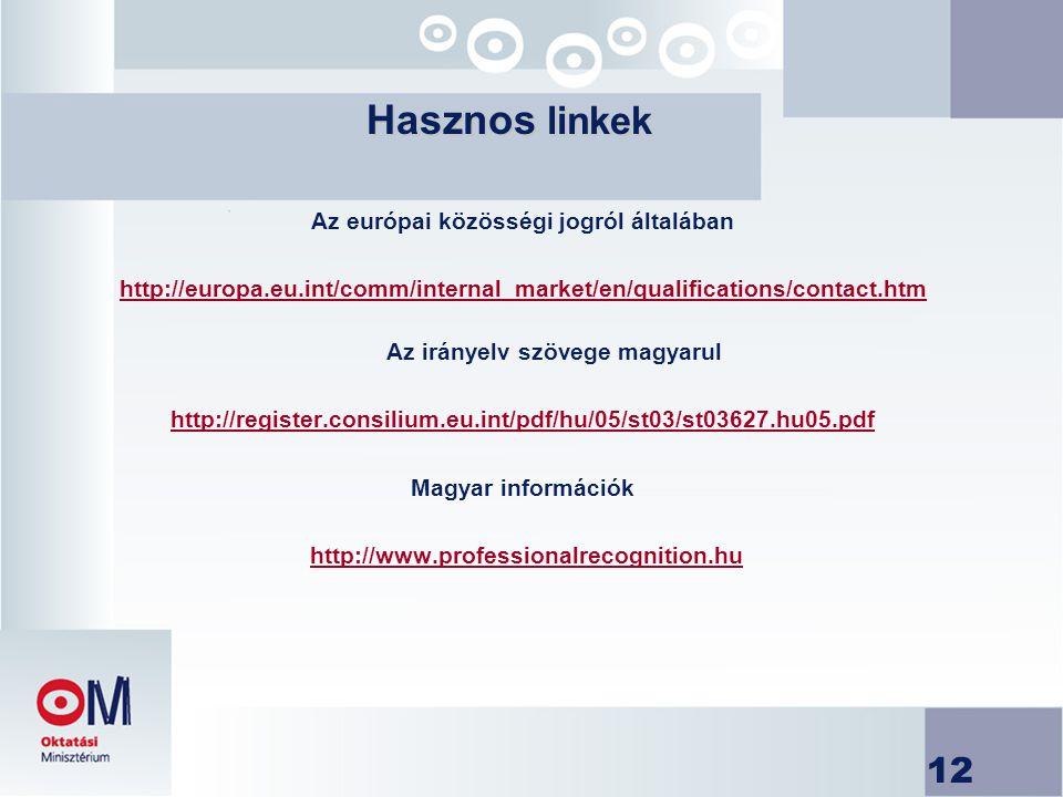 Az európai közösségi jogról általában Az irányelv szövege magyarul
