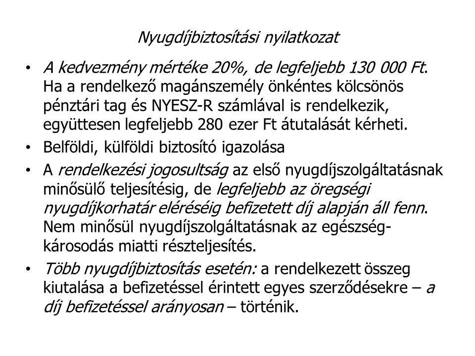 Nyugdíjbiztosítási nyilatkozat