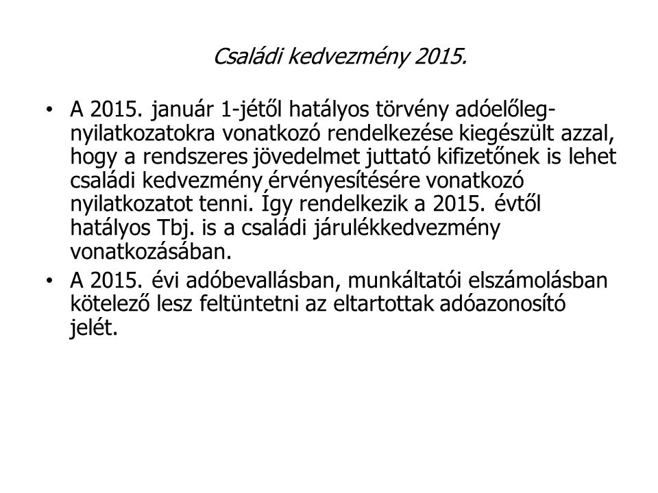 Családi kedvezmény 2015.