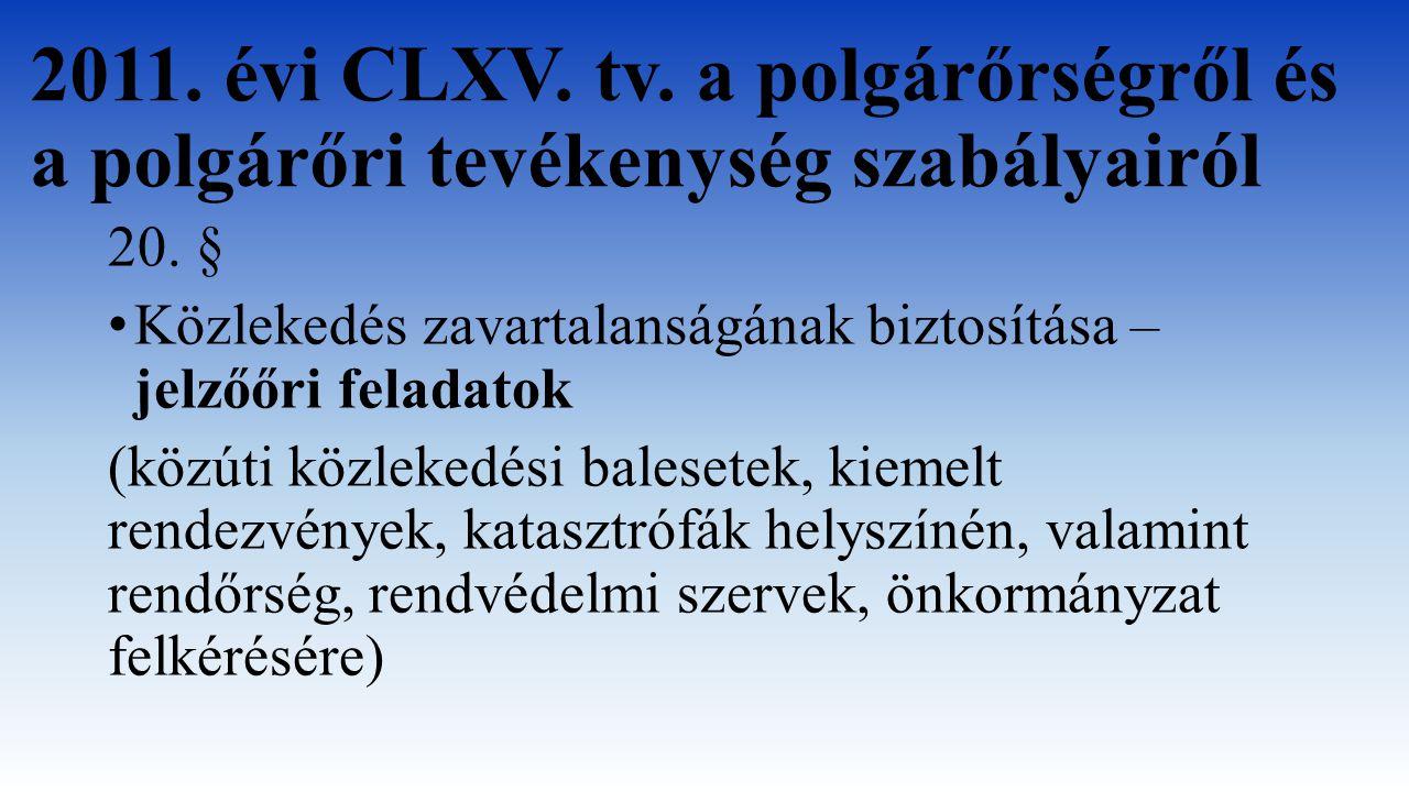 2011. évi CLXV. tv. a polgárőrségről és a polgárőri tevékenység szabályairól