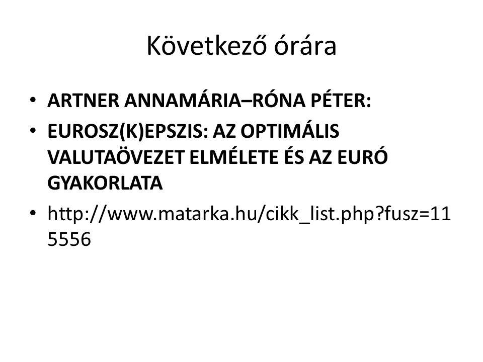 Következő órára ARTNER ANNAMÁRIA–RÓNA PÉTER: