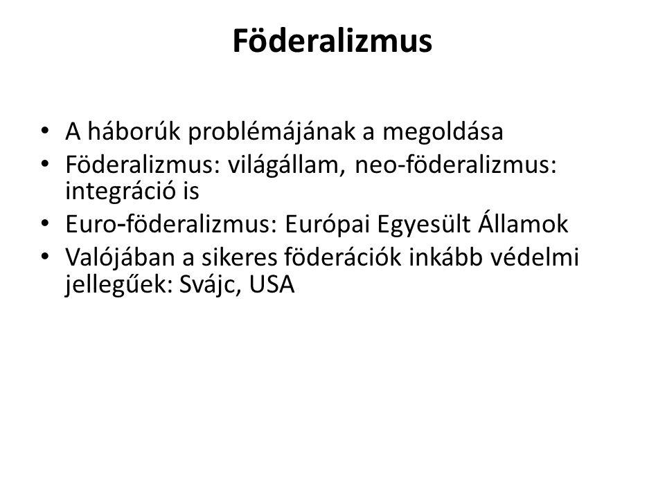 Föderalizmus A háborúk problémájának a megoldása