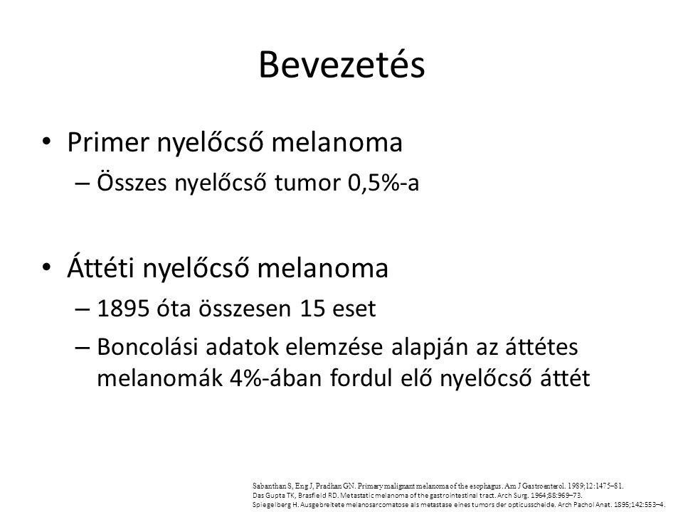 Bevezetés Primer nyelőcső melanoma Áttéti nyelőcső melanoma