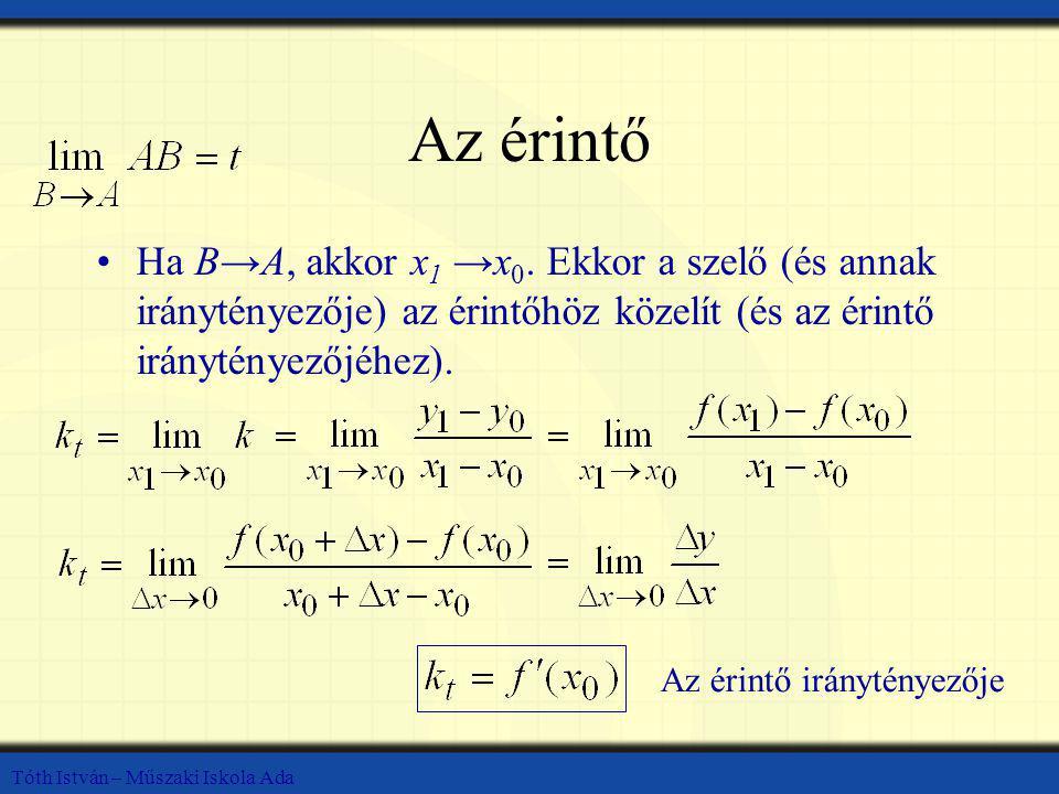 Az érintő Ha B→A, akkor x1 →x0. Ekkor a szelő (és annak iránytényezője) az érintőhöz közelít (és az érintő iránytényezőjéhez).