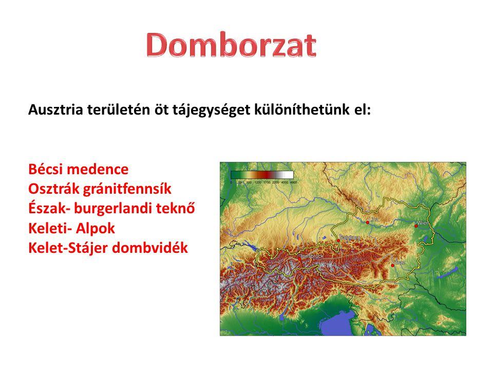 Domborzat Ausztria területén öt tájegységet különíthetünk el: