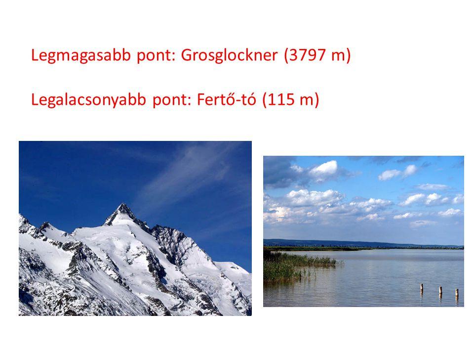 Legmagasabb pont: Grosglockner (3797 m)