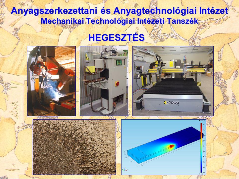 Anyagszerkezettani és Anyagtechnológiai Intézet Mechanikai Technológiai Intézeti Tanszék