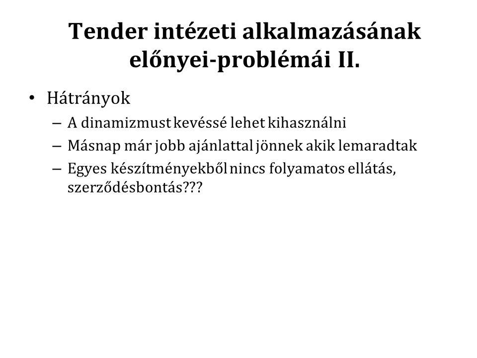 Tender intézeti alkalmazásának előnyei-problémái II.