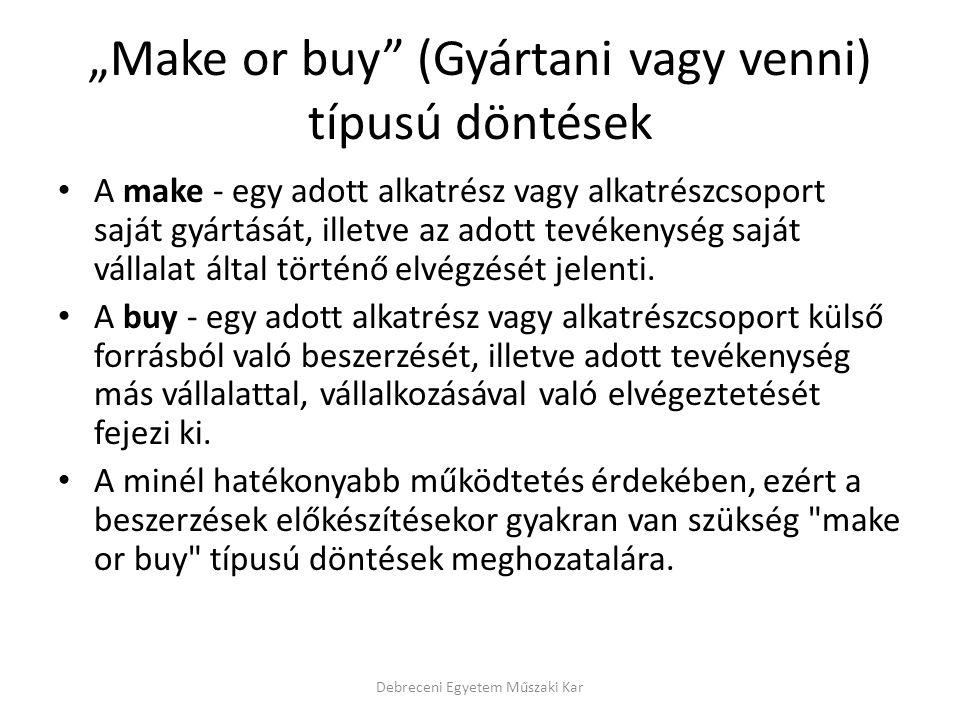 """""""Make or buy (Gyártani vagy venni) típusú döntések"""
