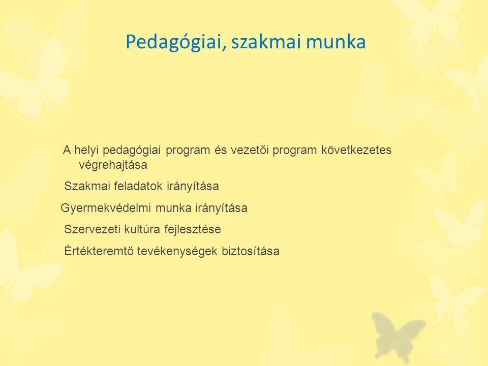 Pedagógiai, szakmai munka