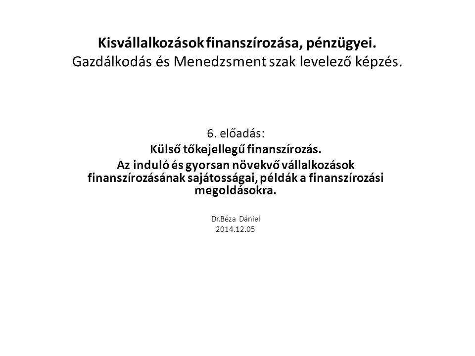 Kisvállalkozások finanszírozása Levelező képzés