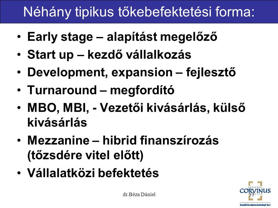 Néhány tipikus tőkebefektetési forma: