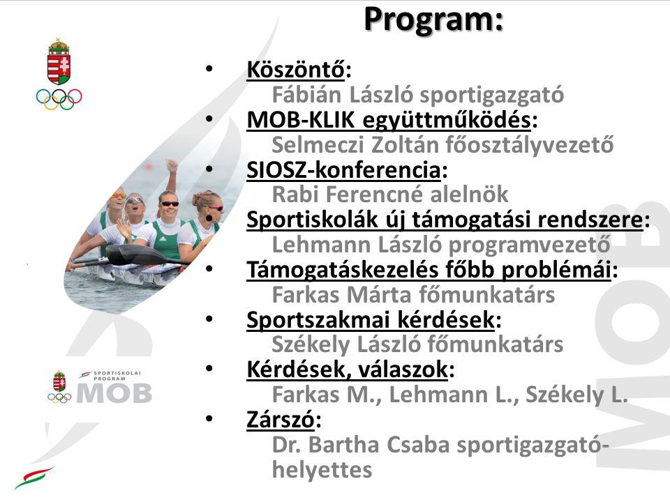 Program: Köszöntő: Fábián László sportigazgató MOB-KLIK együttműködés: