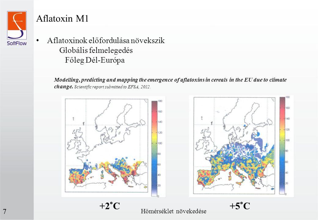 Aflatoxin M1 +2°C +5°C Aflatoxinok előfordulása növekszik