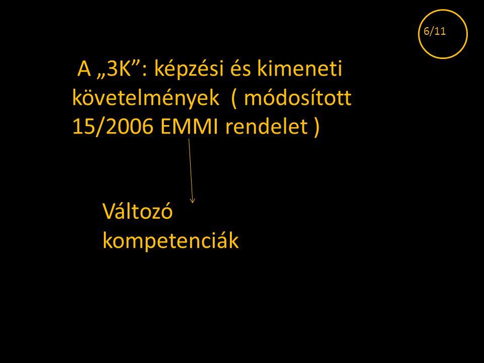 """6/11 A """"3K : képzési és kimeneti követelmények ( módosított 15/2006 EMMI rendelet ) Változó kompetenciák."""