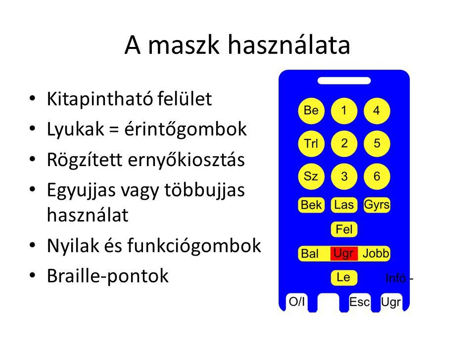 A maszk használata Kitapintható felület Lyukak = érintőgombok