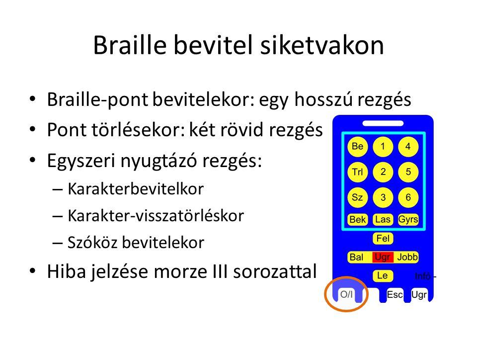 Braille bevitel siketvakon