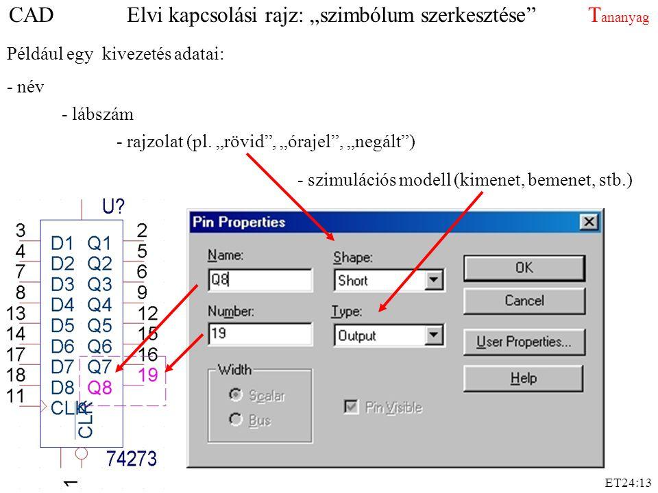 """CAD Elvi kapcsolási rajz: """"szimbólum szerkesztése Tananyag"""