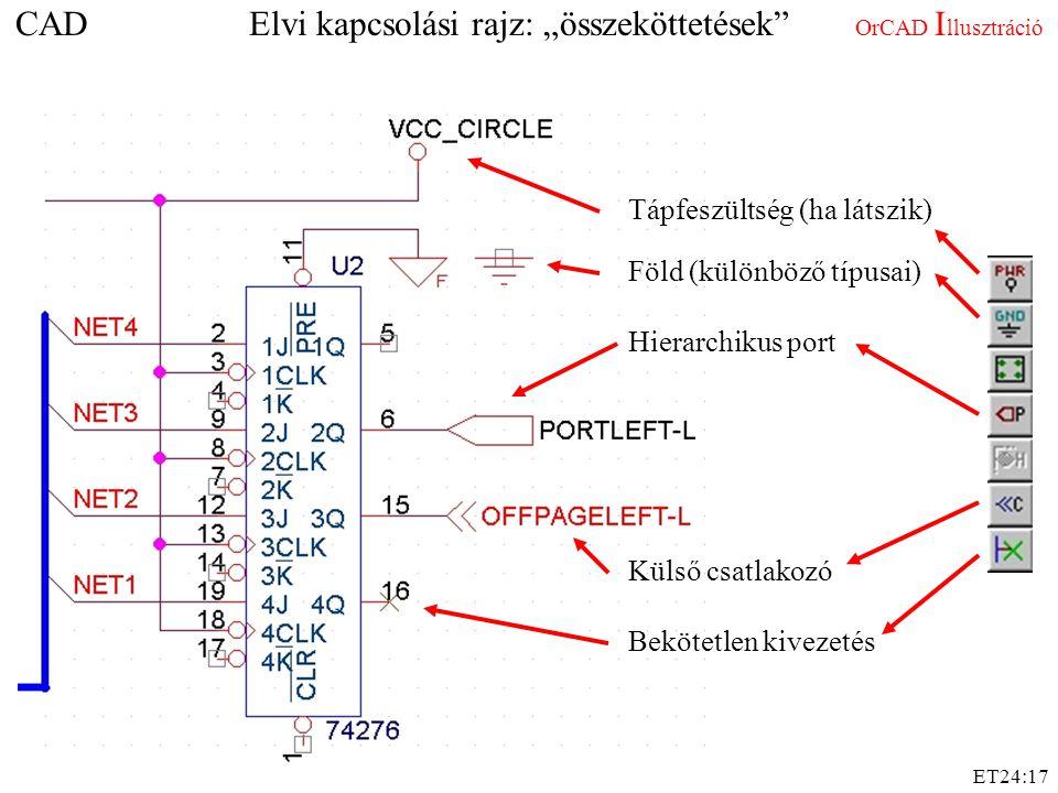 """CAD Elvi kapcsolási rajz: """"összeköttetések OrCAD Illusztráció"""