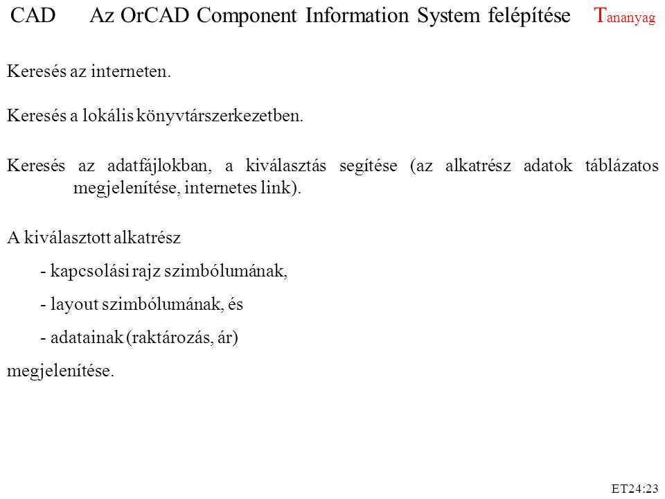 CAD Az OrCAD Component Information System felépítése Tananyag