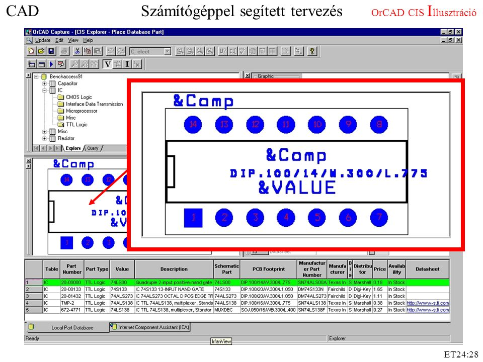 CAD Számítógéppel segített tervezés OrCAD CIS Illusztráció