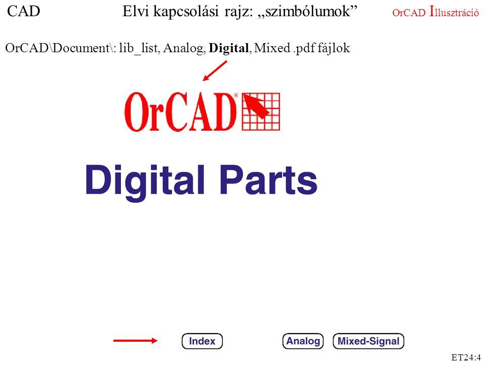 """CAD Elvi kapcsolási rajz: """"szimbólumok OrCAD Illusztráció"""