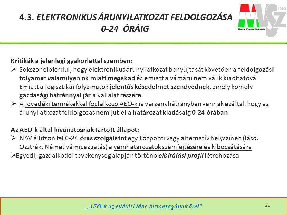 4.3. ELEKTRONIKUS ÁRUNYILATKOZAT FELDOLGOZÁSA 0-24 ÓRÁIG
