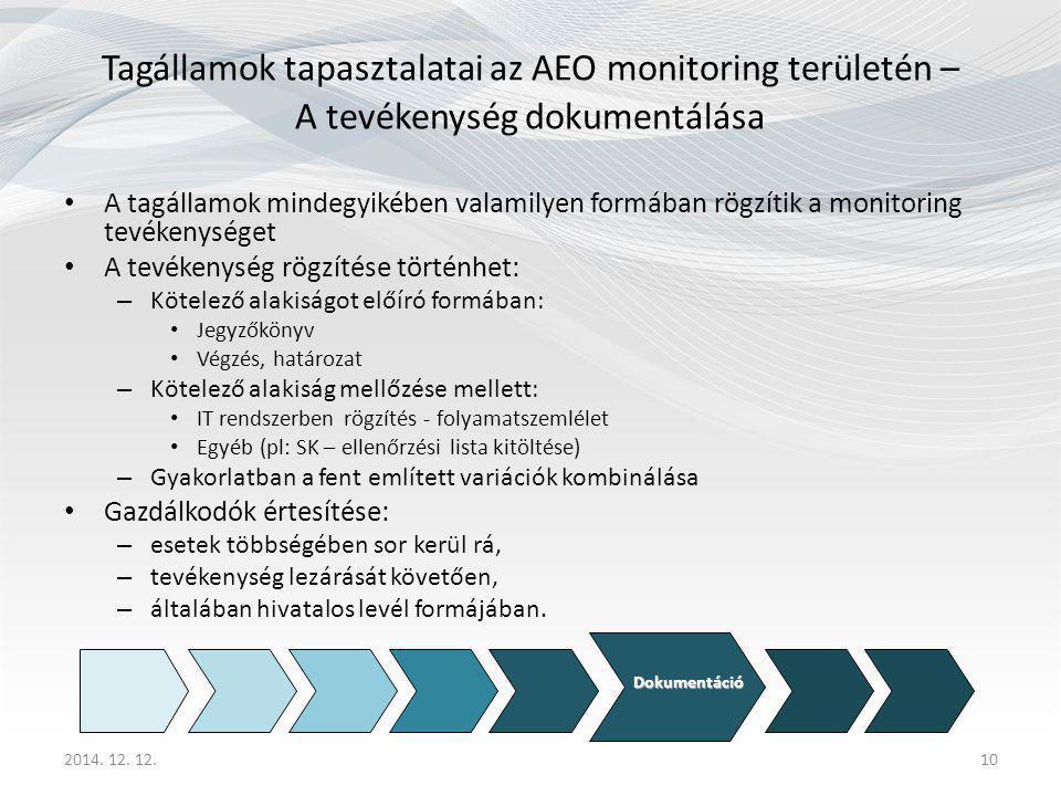 Tagállamok tapasztalatai az AEO monitoring területén – A tevékenység dokumentálása