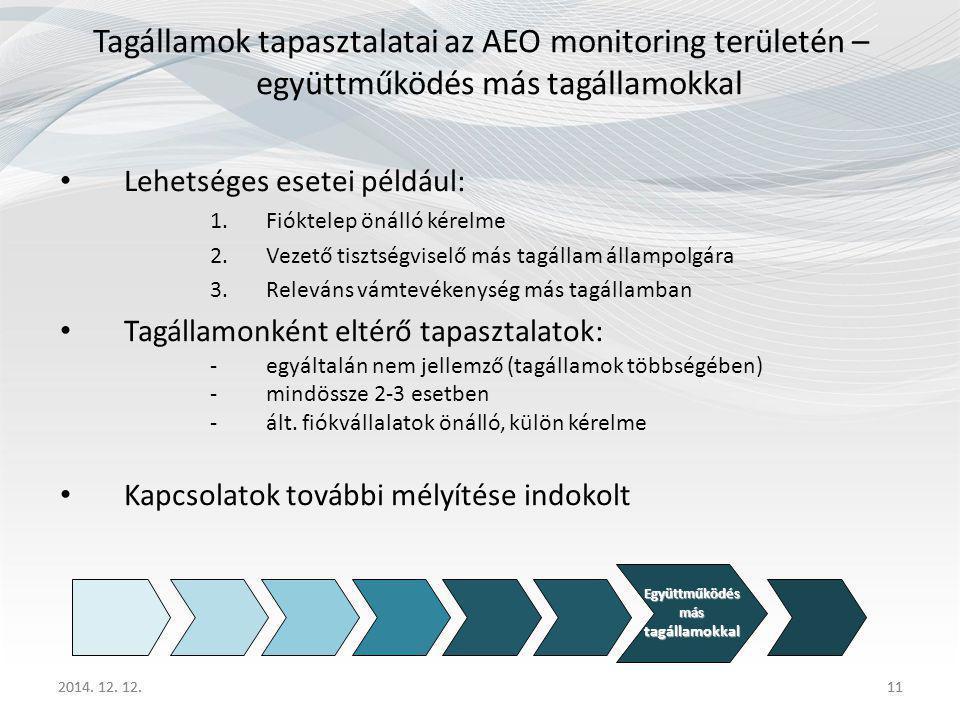Tagállamok tapasztalatai az AEO monitoring területén – együttműködés más tagállamokkal