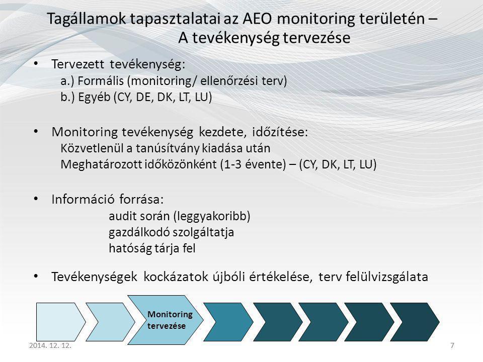 Tagállamok tapasztalatai az AEO monitoring területén – A tevékenység tervezése