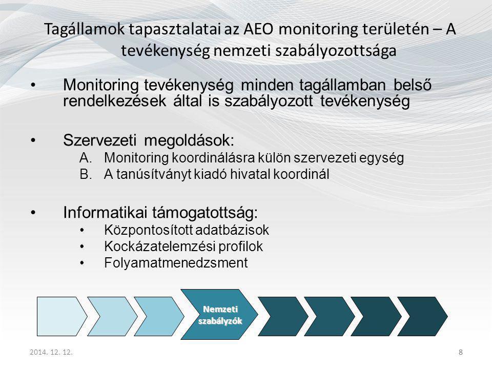 Tagállamok tapasztalatai az AEO monitoring területén – A tevékenység nemzeti szabályozottsága