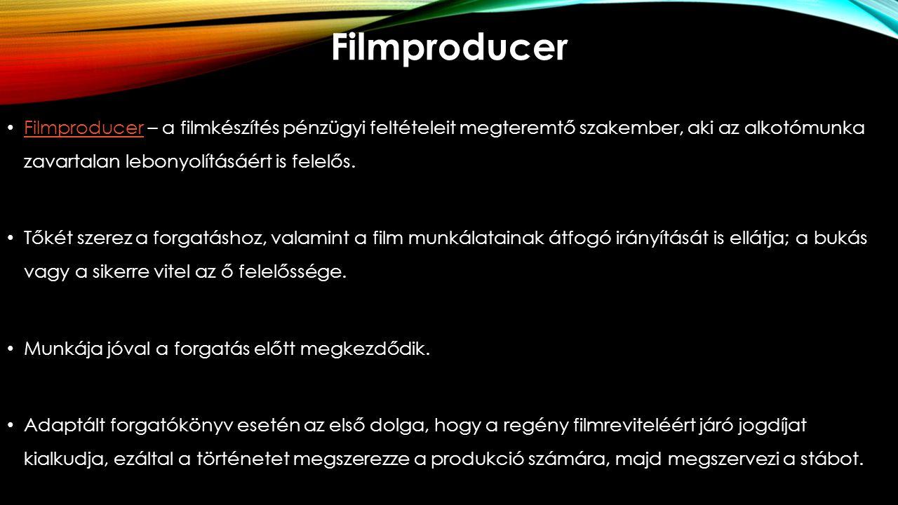 Filmproducer Filmproducer – a filmkészítés pénzügyi feltételeit megteremtő szakember, aki az alkotómunka zavartalan lebonyolításáért is felelős.